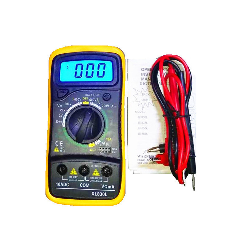 XL830L Handheld Digital Multimeter LCD Backlight Portable AC/DC Ammeter Voltmeter Ohm Voltage Tester Meter Multimetro