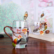 Creative enamel stained glass water cup high-end flower tea cup heat-resistant glass cups European enamel cup couple mug creative enamel stained glass water cup high end flower tea cup heat resistant glass cups european enamel cup couple mug