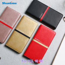PU Leather Wallet Phone Bag Case For TCL 10 SE Fashion Flip Case For TCL 10 SE Business Case Soft Silicone Back Cover