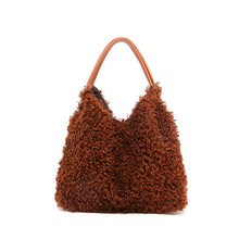 Large Winter Plush Hobo Shoulder Bags for Women 2019 Fashion Brown Underarm Bag Fur Clutches Women Leather Handbags Bolsa Female(China)