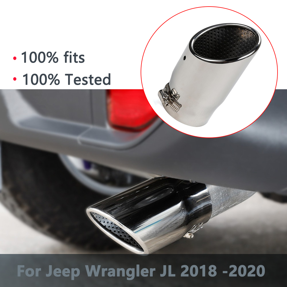 for Jeep Wrangler JL 2018 2019 2020 Tail Exhaust Pipe Rear Throat Stainless Steel Chrome Car Exterior Accessories Stylings