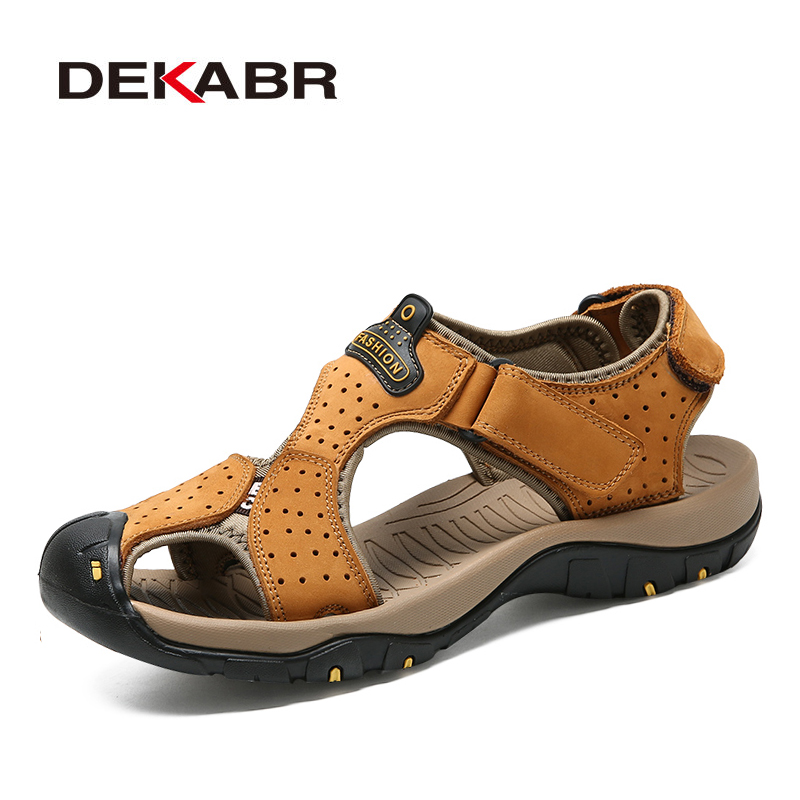 DEKABR New Casual Men's Beach Solid Casual Breathable Flat Sandals Men's Comfortable Lightweight Outdoor Sandals Dropshipping