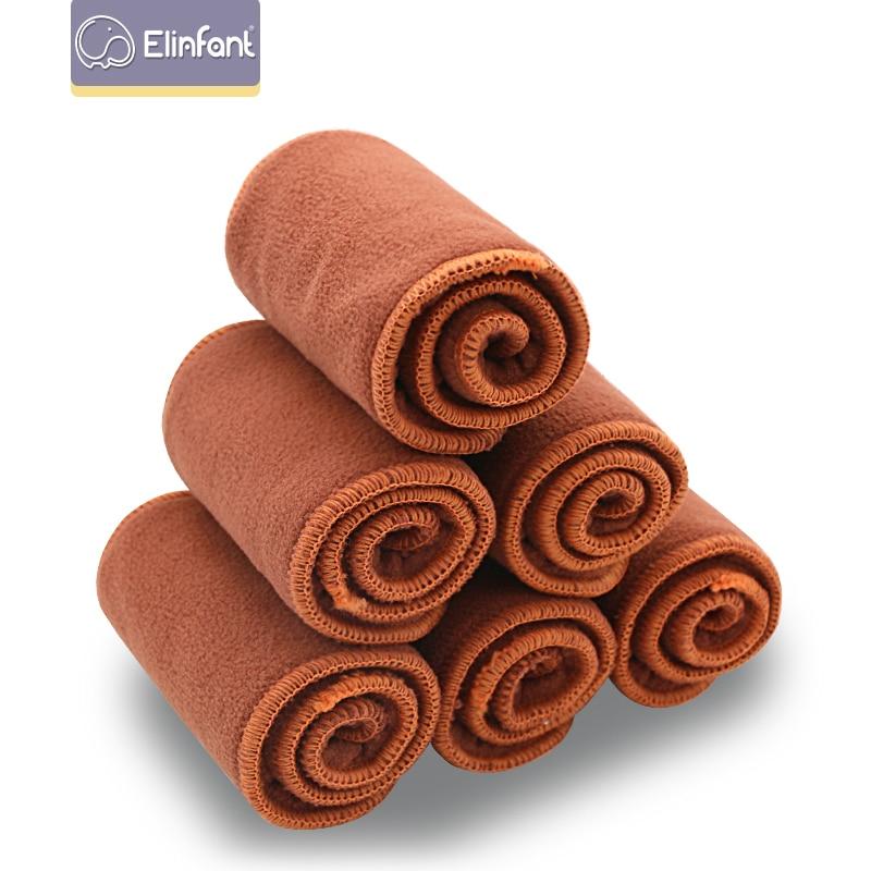 Elinfant 5/10 Pcs Coffee Fleece Insert Baby Cloth Diaper Nappy Washable  Reusable