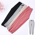 Summer Plus Size Womens Brethable Cool Pants Ice Silk Casual Loose Trousers Fashion Solid Color Sport Wear