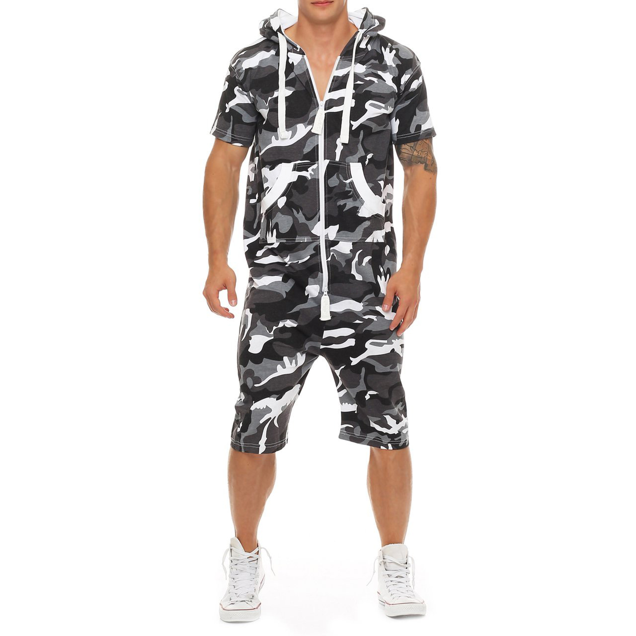 Solid Colour And Camouflage Men's Jumpsuit Casual Hooded Zipper Short Sleeve Top And Knee Length Shorts 2 Piece Set Ropa Hombre