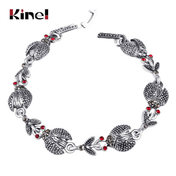 Low Price Supply Merchant Classical Mascot Ladybird Red Crystal Alloy Tibet Silver Color Vintage Jewelry Bracelets For Women image