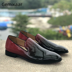 Gradient Claret negro charol Dress Shoes Round Toe Slip-on Casual mocasines moda Primavera otoño hombres zapatos
