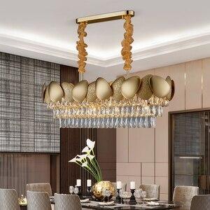 Image 4 - الفاخرة الحديثة كريستال الثريا لغرفة الطعام تصميم المطبخ جزيرة سلسلة تركيبة إضاءة مصباح الذهب ديكور المنزل كريستال