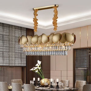 Image 4 - Luxury modern crystal chandelier for dining room design kitchen island chain lighting fixture gold home decoration cristal lamp