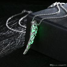 New Silver Plated Hollow Pepper Shaped Pendant 3 Color Styles Noctilucent Luminous Necklaces Women Glowing Jewellery