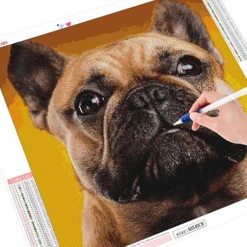 HUACAN 5D DIY Diamond Painting Cross Stitch Animal Full Drill Embroidery Dog Mosaic Handmade Home