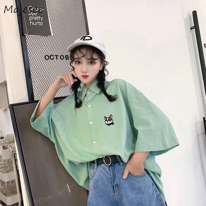 Blouses Women Cartoon Printed Single Breasted Cute Girls Simple BF Student Harajuku Korean Style Womens Shirt Casual Ulzzang New