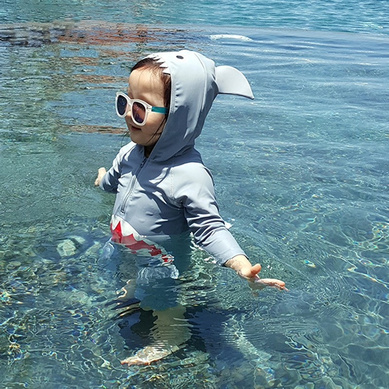 South Korea New Products Children BOY'S Baby Shark One-piece Sun-resistant UV-Protection Infant Warm Hot Springs Bathing Suit Fa
