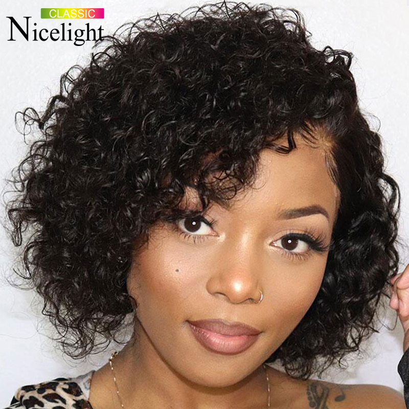 Nicelight Water Wave Bob 4x4 Lace Wig Short Remy Lace Front Human Hair Wigs Natural Hairline 13x4 Lace Frontal Wig Brazilian Wig