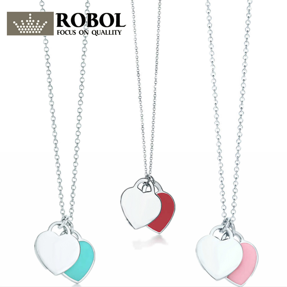 High Quality 1:1 TTFF 925 Sterling Silver Double Love Necklace Jewerly Original Design Model Superb Lettering Process.