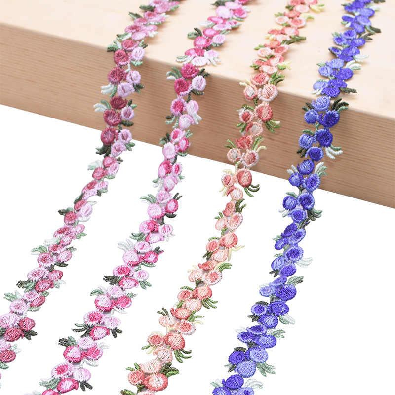 2 ヤード桜の花レーストリムリボン刺繍レーストリム生地アップリケトリミング diy の縫製クラフト手作り衣服の付属品