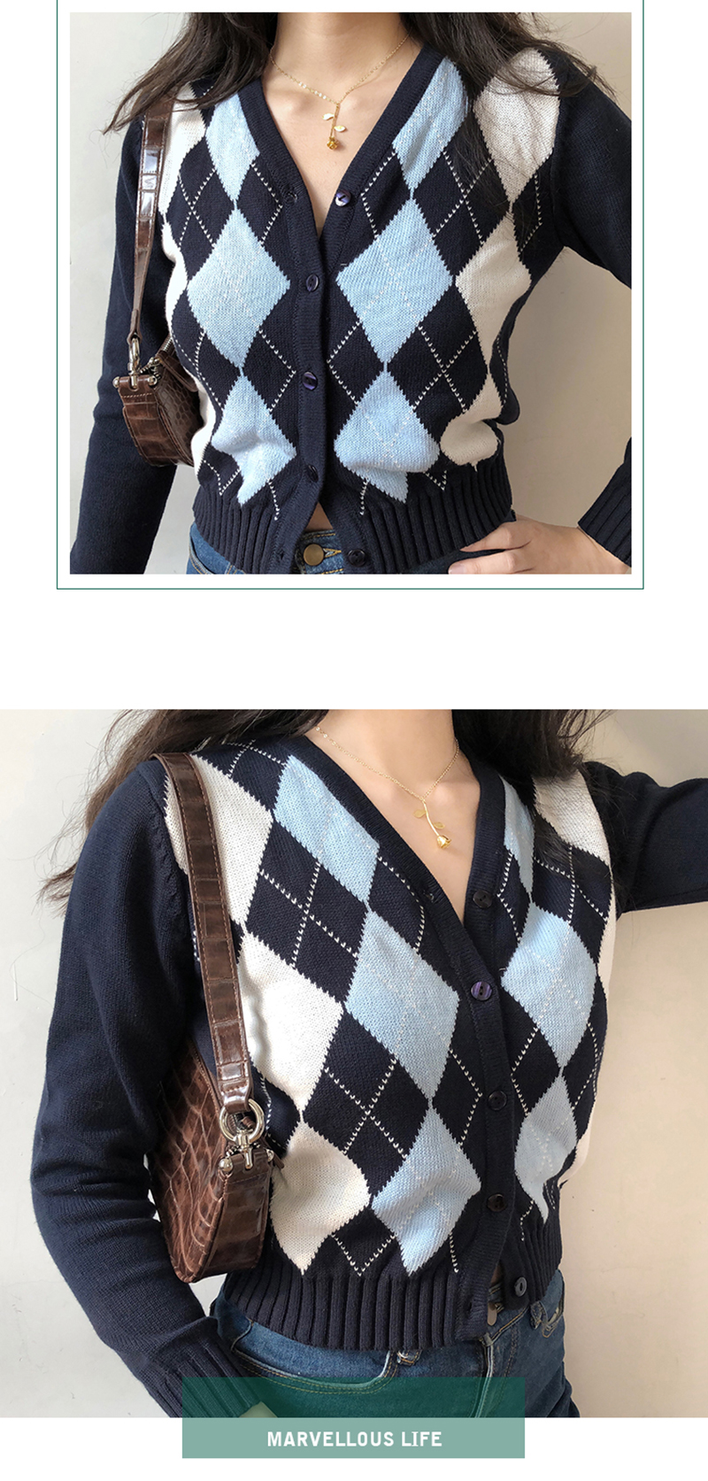 Vangull vintage women sweater geometric rhombic cardigan autumn warm long sleeve outerwear england style Argyle Sweater tops