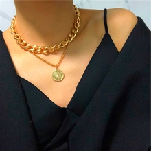 New Hip Hop Double Layer Queen Coin Head Short Clavicle Chain Metal Thick Chain Necklace For Women Choker Party Jewelry
