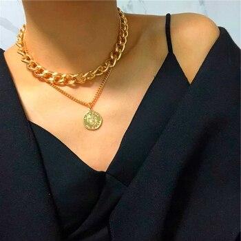 Nowy Hip Hop dwuwarstwowa królowa moneta głowa krótki łańcuszek na obojczyk metalowy gruby łańcuch naszyjnik dla kobiet Choker Party biżuteria