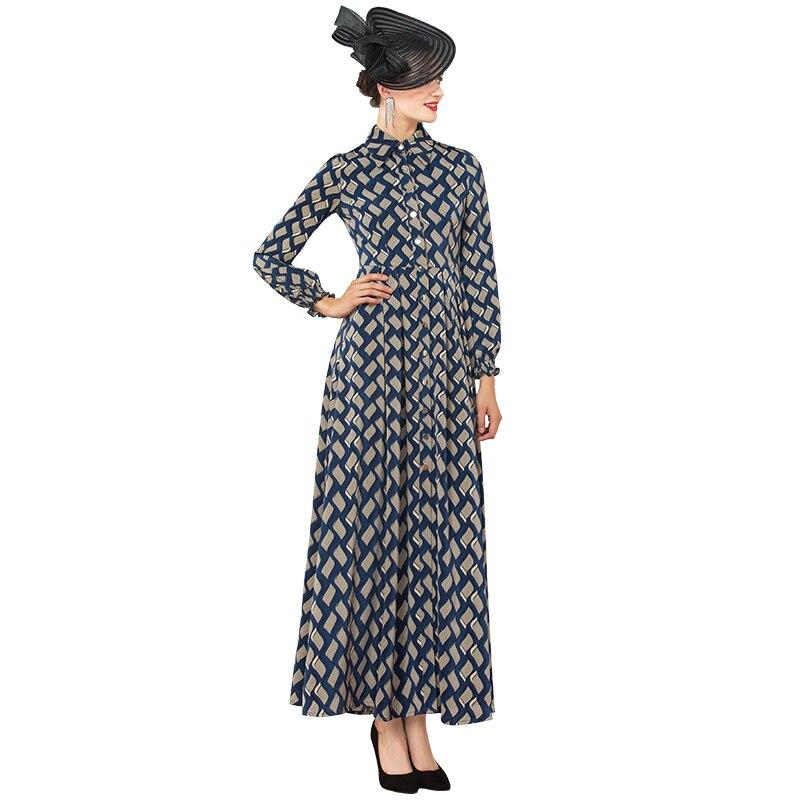 Шифоновое осеннее длинное платье с пуговицами, подиумные платья в клетку, женские вечерние платья, вечерняя одежда до щиколотки DZ1160