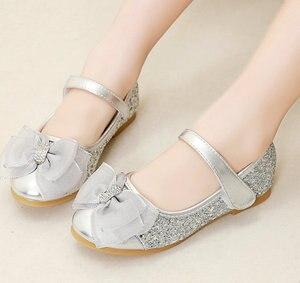 Мягкие туфли принцессы на плоской подошве для девочек, блестящие сандалии золотого и серебряного цвета, праздничная обувь, повседневная об...
