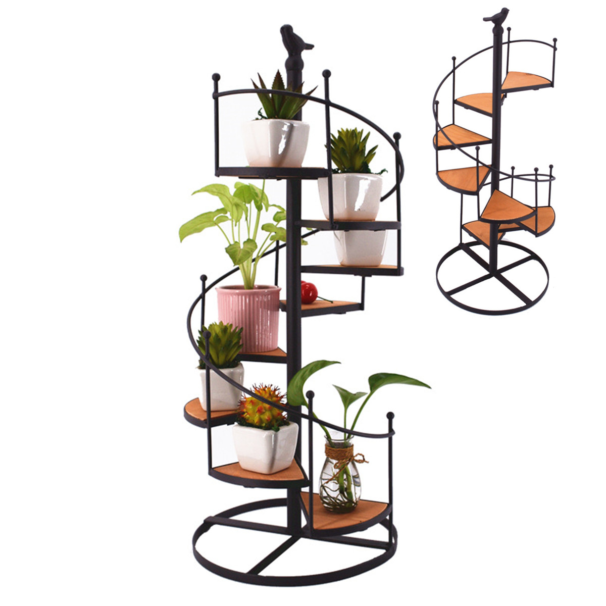 8 Layer Staircase Iron Plant Rack Metal Stand Plants Succulent Shelf Desktop Garden Flower Modern Decorative With Wood Plates