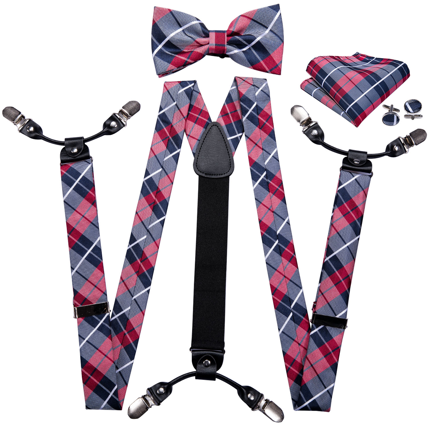 Barry.Wang Men Silk Suspenders Set Leather Metal 6 Clips Braces Black Plaid Vintage Elastic Wedding Suspenders Checked Bowtie