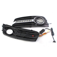 Car Flashing 1 Set For Audi A4 A4L B8 2009 2010 2011 2012 LED DRL Daytime Running Lights Daylight Fog Lamp Cover Hole
