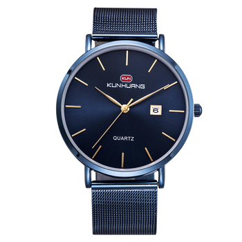 Brand Simple Minimalism luxury Quartz wrist Watches for men relogio masculino black / gold blue stainless steel WATCH hour wach image