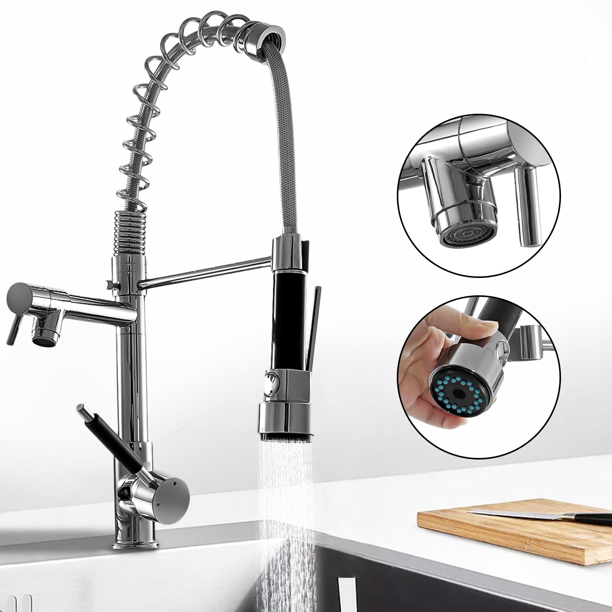Kitchen Chrome Pull Out Side Spring Faucet Dual Spout Sprayer Single Handle Mixer Tap Sink Faucet 360 Rotation Deck Mounted