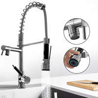Kitchen Chrome Pull Out Side Spring Faucet Dual Spout Sprayer Single Handle