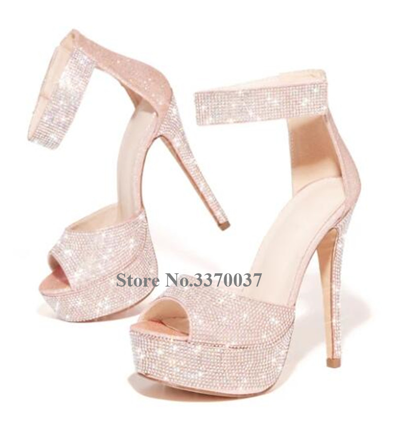 Bling Bling Luxurious Rhinestone Peep Toe Peep Toe Platform Stiletto Heel Pumps Ankle Strap Crystal High Heels Wedding Shoes - 6