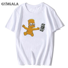 100% cotton summer anime Simpson men's T-shirt fun ladies print T-shirt fashion casual Harajuku cartoon clothes tops tee(China)