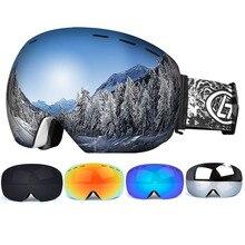 Снег Сноуборд очки анти-туман большой сферической линзы лыжные очки для мужчин, женщин, молодежи катание на лыжах шлем очки UV400 защиты