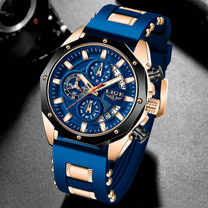 2021 NEW Top LIGE Brand Casual Fashion Watches for Man Sport Military Silicagel Wrist Watch Men Watch Chronograph Relojes Hombre