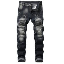 2019 Men New Fashion Distressed Holes Jeans Men Casual Cotton Slim Blue Long Pants Men Denim Jeans Motorcycle Biker Autumn Jeans newest uglybros juke mesh summer jeans motorcycle jeans fashion jeans man jeans motor pants blue