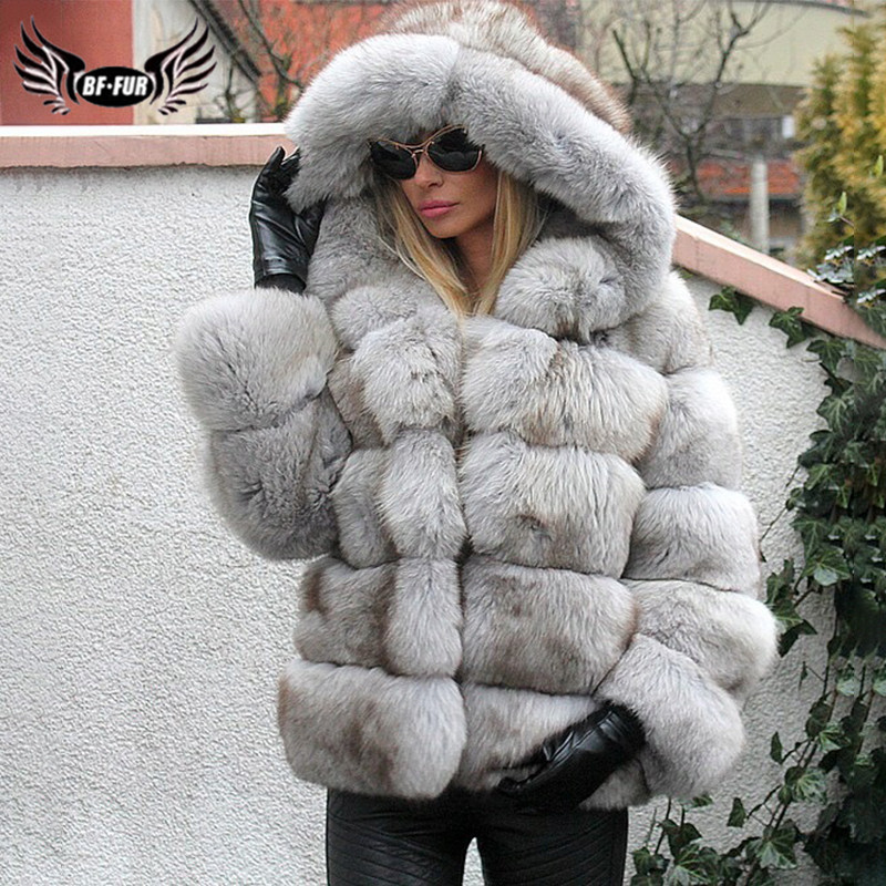 Fashion Natural Real Blue Fox Fur Jackets For Women Winter Wholeskin Thick Geunine Fox Fur Coat With Hood Woman Luxury Overcoat