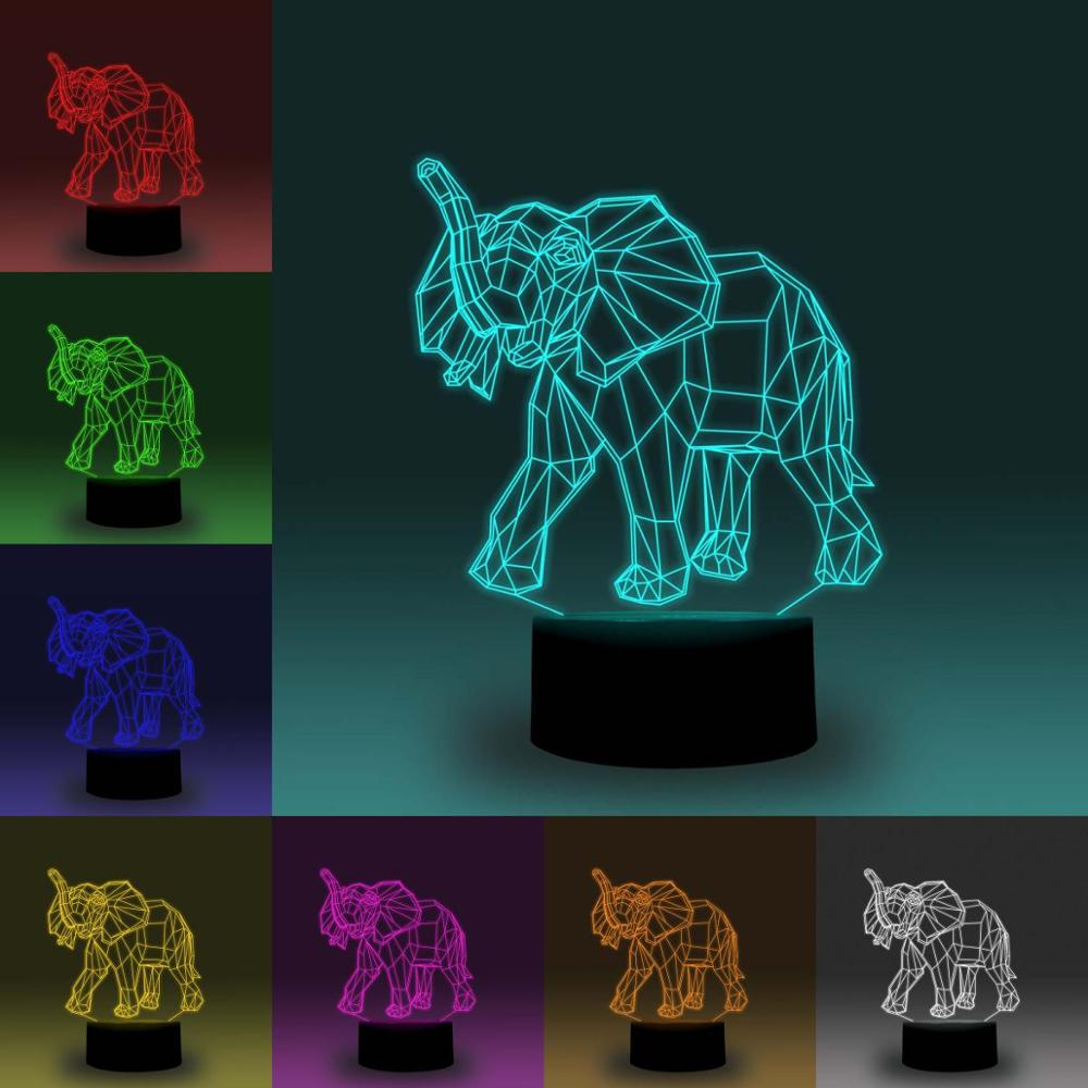 NiteApps 3D Elephant LED Night Light Desk Table Illusion Lamp Holiday Birthday Gift APP/Touch Control