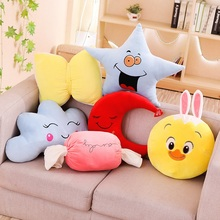 7 Styles Funny Moon&Bow-knot&Candy&Star Plush Pillow Toy Soft Cartoon Sky Series Heart&Cloud&Rabbit Stuffed Doll Nap Gift