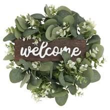 1Pc witamy dekoracyjny wieniec drzwi wiszące Garland Ornament sztuczny liść wieniec sztuczna roślina wystrój domu