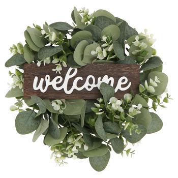 Guirnalda de bienvenida para decoración de puerta, adorno de hojas de imitación, decoración de plantas artificiales para fiesta en casa, 1 unidad