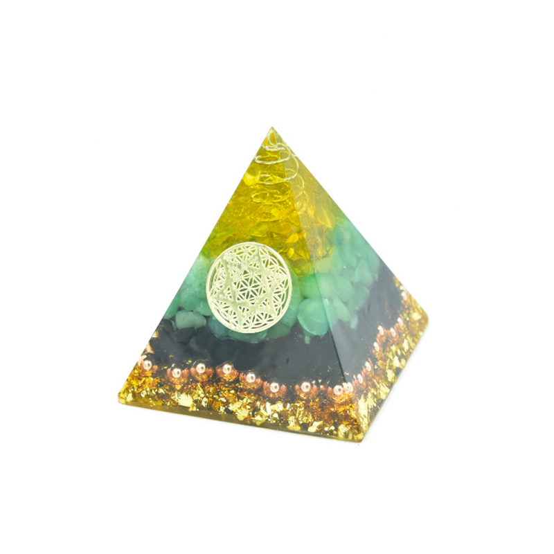 Aura Pyramid Orgonite Energy Crystals Original Home Office Decor Resin Reiki Gift Aventurine Tourmaline Energy Generator