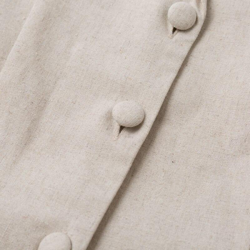 Elegant Button Belt Tie Linen Short Jumpsuit Romper 8