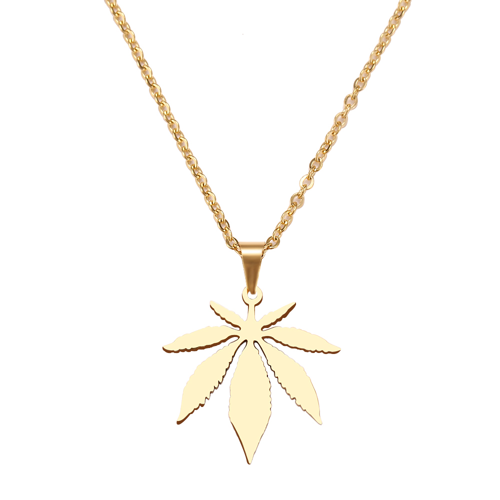 DOTIFI Stainless Steel Necklace For Women Man Maple Leaf Choker Pendant Necklace Engagement Jewelry 1