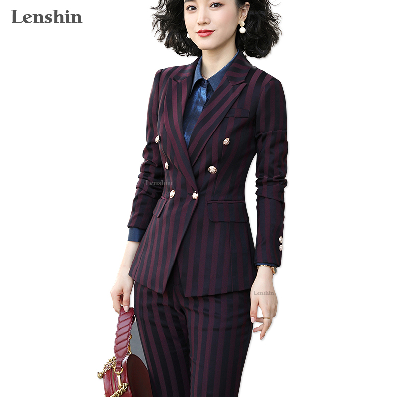 Lenshin High Quality 2 Piece Set Striped Formal Pant Suit Blazer Office Lady Designs Women Business Jacket And Ankle-Length Pant