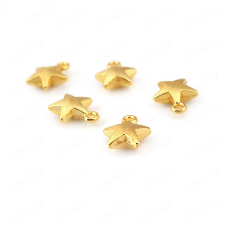 100PCS 7MM 10MM Silver Color Plated Zinc Alloy Thicken Star Charms Pendants Diy Jewelry Findings Earrings Accessories Wholesale