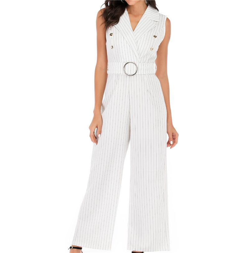 Handsome Suit Jumpsuits Leisure Pants Wide Leg Overalls Female Bodysuit Women Belt Striped Office Worker Clothing