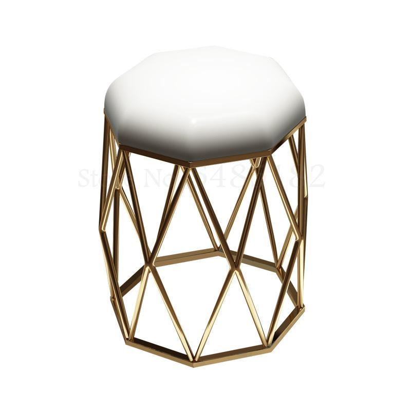 Nordic Ins Style Chair Simple Household Iron Dressing Stool Black Bird Nest   Gold Light Luxury Manicure