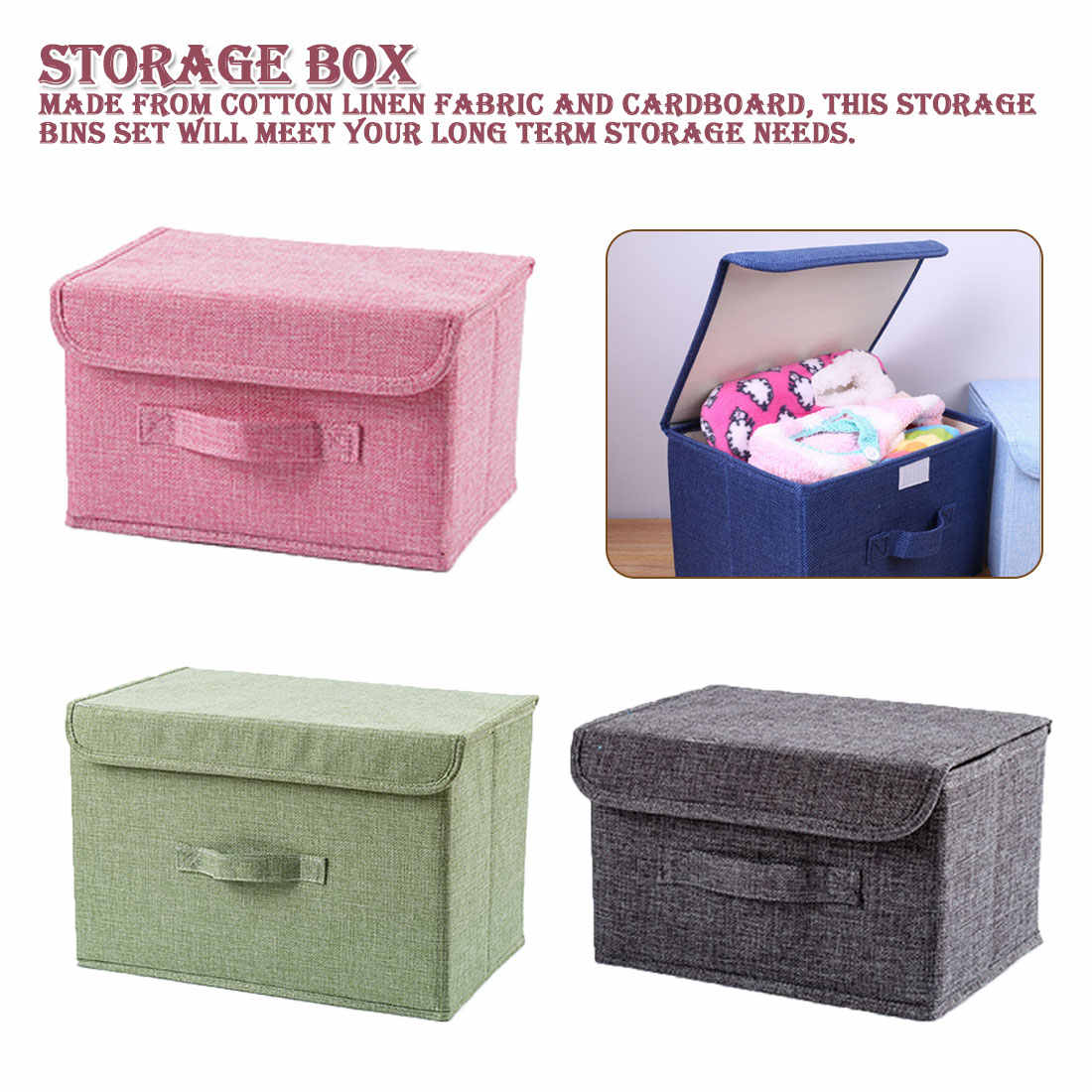 Large Folding Storage Box Cotton Linen Fabric Kids Toys Organizer Container Bins