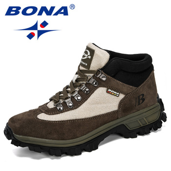 BONA 2019 New Designers Men Hiking Shoes Autumn Winter Leather Boots High Top Trekking Hunting Man Trainers Rubber Trendy - discount item  34% OFF Sneakers